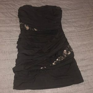 Sz8 Express black/gold/lace night dress